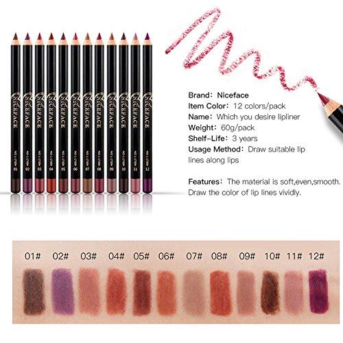 12 Colores Impermeable Delineador De Labios De Larga Duración Set, Contornos Lápiz Labial Set, Lápiz De Maquillaje Pintalabios