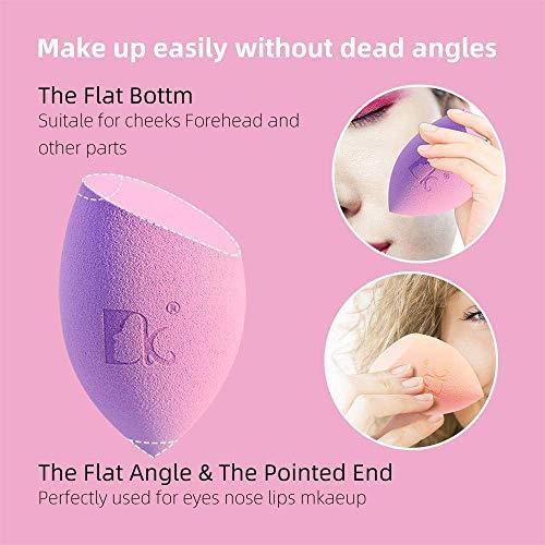 DOLOVEMK 2 PCS/Pack Juego de licuadora de esponja de maquillaje, esponja de base suave sin látex, licuadoras de mezcla de belleza suave con forma de oliva oblicua (rosa y morado)