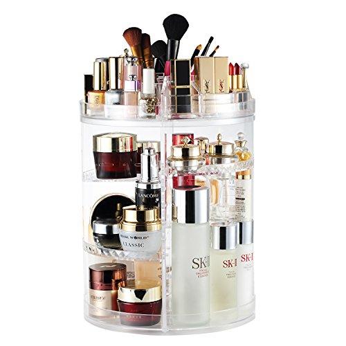 AMEITECH Organizador del Maquillaje, 360 Grados Que Giran la Joyería Ajustable y el Soporte de Exhibición Cosmético, 8 Capas Componen la Caja de Almacenaje - Claro Cristalino