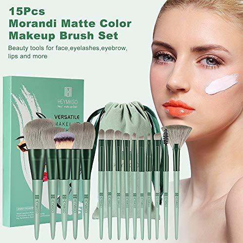 HEYMKGO - Juego de brochas Pinceles de maquillaje 15 piezas de cerdas sintéticas de primera calidad Mango cónico de color Kabuki Brocha para base de maquillaje Cara labios ojos juegos de maquillaje