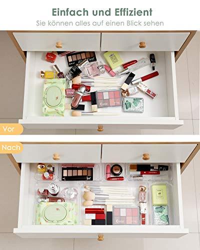 10 Pcs Cajas Organizadoras, Organizador maquillaje, Cajas Bandejas de Plástico Transparente Apilables Almacenamiento para Cajones, Adecuado para el Refrigerador, Cocina, Joyería, Habitación