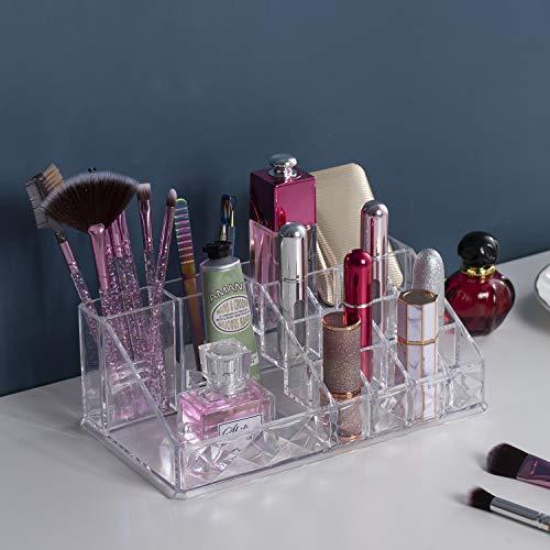 Jolintek Organizador de Maquillaje, Caja Maquillaje Organizador Acrílico Organizador Maquillaje Organizador Escritorio Maquillaje Cosméticos Estante de Maquillajes Joyería Organizador (Transparente)