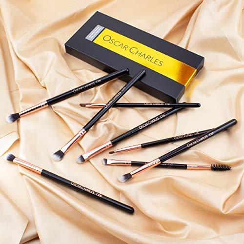 Oscar Charles Juego de brochas profesionales para maquillaje de ojos con brochas suaves para difuminar, brochas para sombras de ojos y brochas para cejas [8 piezas] [Oro rosa]