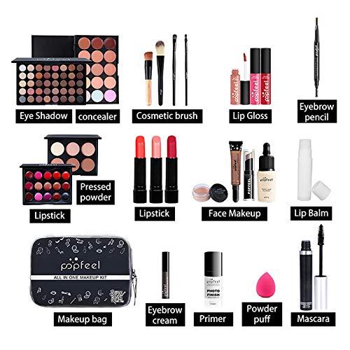 Kit de maquillaje todo en uno de 24 piezas, Juego de regalo cosmético Combinación con sombras de ojos, colorete, lápiz labial, corrector, etc. Perfecto para uso diario y profesional