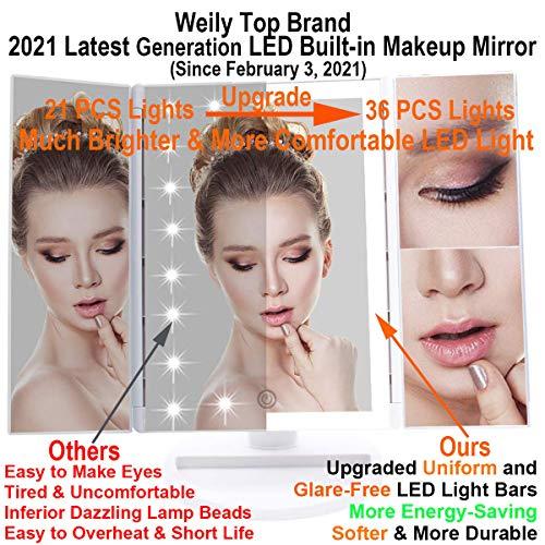 WEILY Espejo Maquillaje, Espejo Cosmético,Luz Ajustable con 36 LED,Tríptica Aumentos 1X, 2X, 3X, Rotación Ajustable de 180 °, Fuente de alimentación Doble, Espejo cosmético encimera