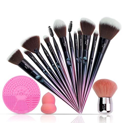 Brochas de Maquillaje Profesional - Brochas de Maquillaje y Cinta para la Cabeza – Set de maquillaje profesional para Mujeres - Limpiador de Brochas de Maquillaje, Bolso de Transporte