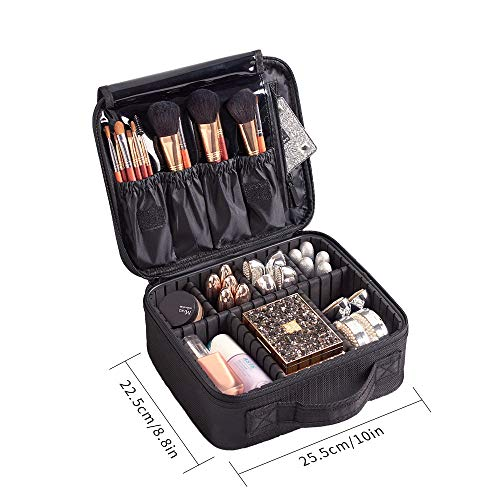 Bolso para Maquillaje, Organizador de Almacenaje de Maquillaje, Neceser de Viaje, Bolso de Aseo, Compartimentos Ajustables con Asa, Regalo para Mujeres,