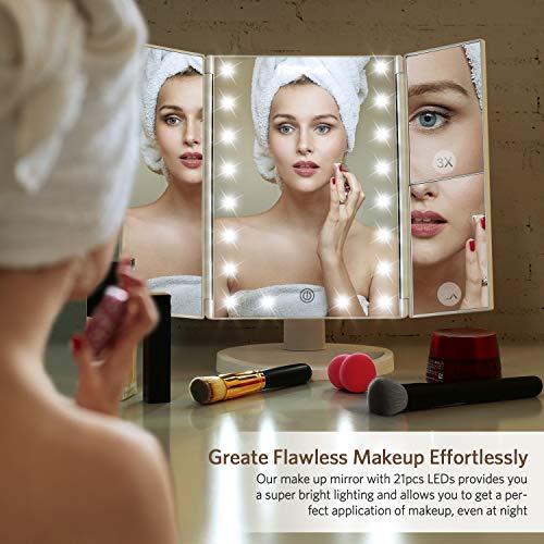 HOMEVER Espejo de Mesa, (Diseño clásico de Sarga) Espejo de Maquillaje Tríptico con Aumento 1x, 2X, 3X, Iluminacíon 21 Led Pantalla Táctil Lámparas Rotación de 180° Espejo Cosmético Carga con USB