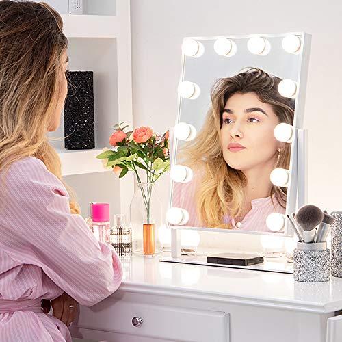Chende Blanco Espejo Maquillaje con luz, Espejo de Tocador con Modos de Iluminación de 3 Colores, Profesional Espejo Maquillaje Hollywood para Dormitorio(40cm X 30cm)