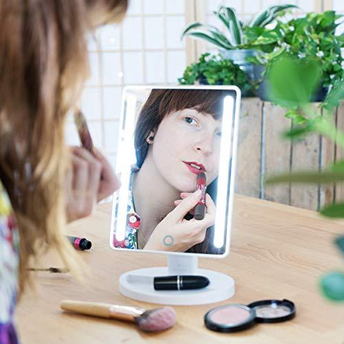 Navaris Set de Espejos de Maquillaje con luz LED - Espejo cosmético Giratorio 2 en 1 Incluye uno de Aumento de 10x extraíble - 16 Luces LED - Blanco