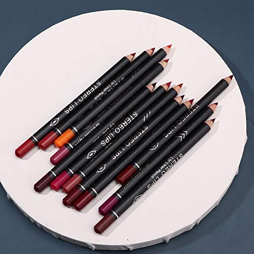 Lápiz labial, 12 piezas de juego de lápices de relleno de delineador de labios mate, juego de lápices de delineador de labios a prueba de agua Lápiz con 12 colores para una apariencia más completa Del