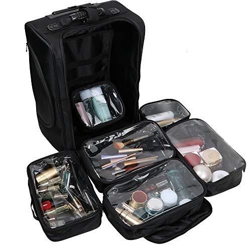 Organizador de Cosméticos Portable Kemier, Estuche de Maquillaje con Ruedas de Nylon Suave con Bolsos, Negro