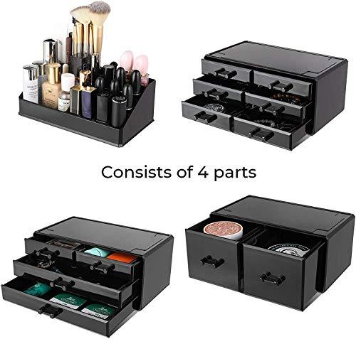 Femor Organizador de cosméticos acrílico con cajones para 16 pintalabios y esmalte de uñas, apilable para organizador de maquillaje, multifunción