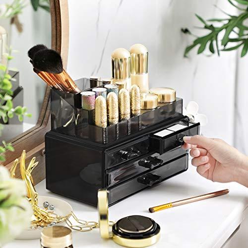 SONGMICS Organizador Cosmético, Estuche de Maquillaje con 4 Cajones y 11 Compartimentos de Diferentes Tamaños, Esteras Antideslizantes, Maquillaje y Joyería, Negro JKA00BK