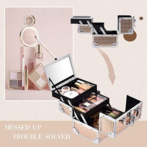 Maletín Maquillaje Estuche Maquillaje Caja Maquillaje Beauty Case de Viaje Cosméticos Organizador Joyero y Manicura Vacío Profesional con Espejo y Cerradura 19.5x15x16cm Regalos para Mujeres,Dorado