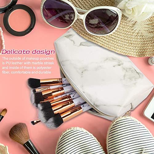 phiraggit Bolsas de mármol de Maquillaje Bolsas de cosméticos de Viaje portátiles Bolsas de tocador Organizar Estuches de lápices Pinceles de Maquillaje y bolígrafos para Mujer (4 Piezas) (Blanco)