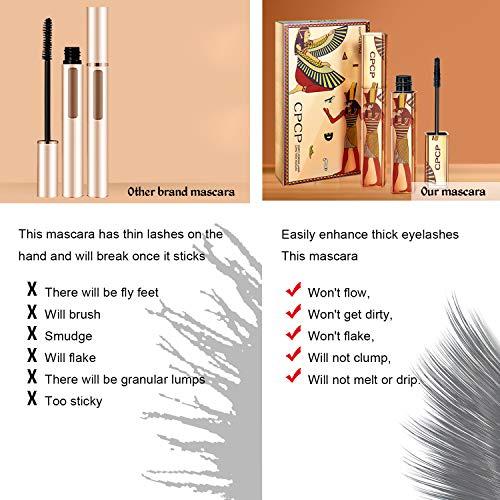 NICEMOVIC 4D Máscara Rímel de pestañas de fibra de seda, rímel impermeable de pestañas extra largas, rímel espesante y espesante natural grueso, maquillaje de ojos largo y encantador