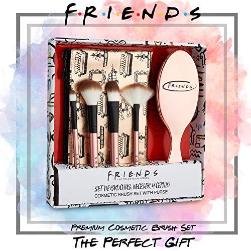 Friends Brochas de Maquillaje, Neceser Maquillaje Para Mujeres y Chicas Con Cepillo Pelo, Set de Pinceles Maquillaje, Neceser Para Viajes, Regalos Para Mujer y Adolescentes