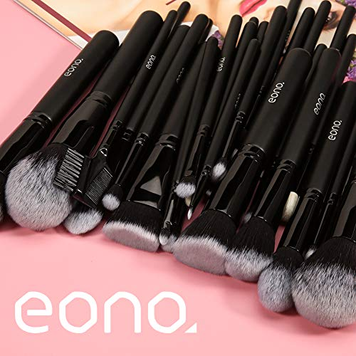 Amazon Brand - Eono Brochas de Maquillaje Set 27 Piezas Profesional, Premium Pinceles de Maquillaje Set Brochas Maquillaje para Cosmética Facial y Ocular, Ojos, Cejas, Base de Maquillaje, Polvos