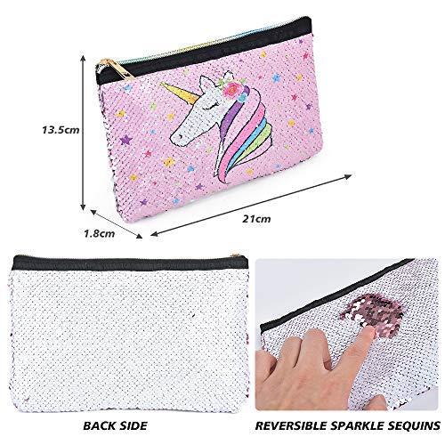 WERNNSAI Unicornio Bolsa Neceser - Neceseres para Maquillaje de Lentejuelas Reversible Bolso de Cosméticos para Niñas Mujeres Estuche Bolsa con Cierre Regalo de Cumpleaños de Viaje