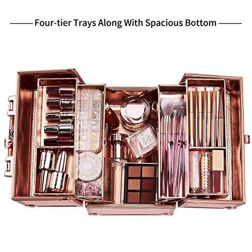 Maletín para Maquillaje Vacío Profesional Impermeable Caja Neceser Maleta Estuche Organizador de Viaje Cosméticos con Cerradura y Llave 25x18x23.5cm, Oro Rosa