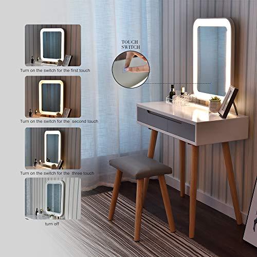 ARTETHYS Tocador Blanco, Espejo con Luz LED, Tocador Moderno con 2 Cajones, Taburete con Colchón y Caja de Maquillaje Gratis, Puede Ajustar la Luminancia, Rectangular