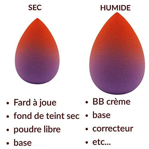 Kilda - Juego de 4 esponjas de maquillaje con forma de gota sin látex, hipoalergénicas, aplicador de base, polvo, corrector, iluminador, difuminador, etc.