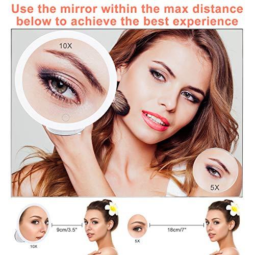 GEMITTO Espejo Maquillaje con Luz LED 5X + 10X de Aumento Espejo Cosmético Luminoso con Ventosa Fuerte 360° de Rotación, Blanco Espejo de Pared Iluminado para Afeitado de Baño y Viajes Blanco