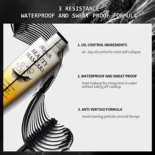 Mimore Máscara de pestañas de fibra de seda 4D Rímel impermeable Pestañas negras resistentes al agua, más gruesas y voluminosas, máscara de pestañas avanzada a prueba de manchas (negro)