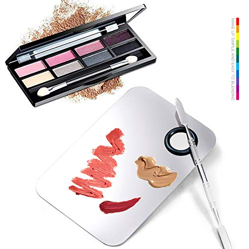 CKANDAY Paquete de 2 paletas de Maquillaje Profesional, 2 Tipos de espátula de Artista cosmética de Acero Inoxidable Pro Lady con Herramienta de espátula para Base de Mezcla, Plateado