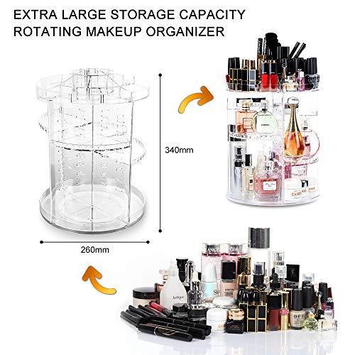 Lilebox Organizador de Maquillaje Giratorio 360, cajón de Maquillaje Ajustable de 360 Grados, se Adapta a Joyas, cepillos, Barras de Labios y cremas, 8 Capas de Almacenamiento de baño, Transparente