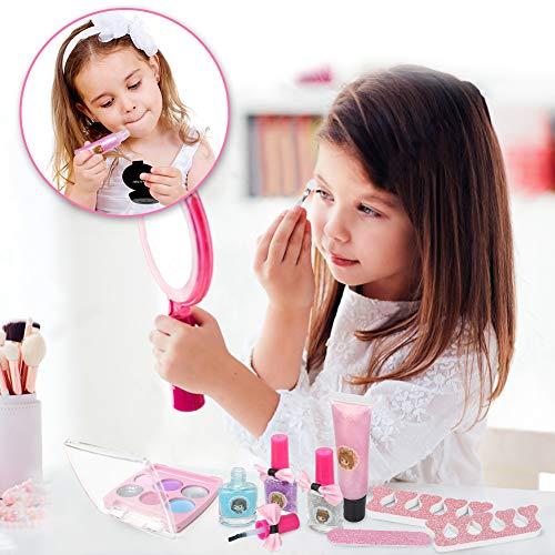 Dreamon Kit de Maquillaje Niñas, Cosméticos Lavables Esmalte de Uñas No Tóxico Niña de 5 años