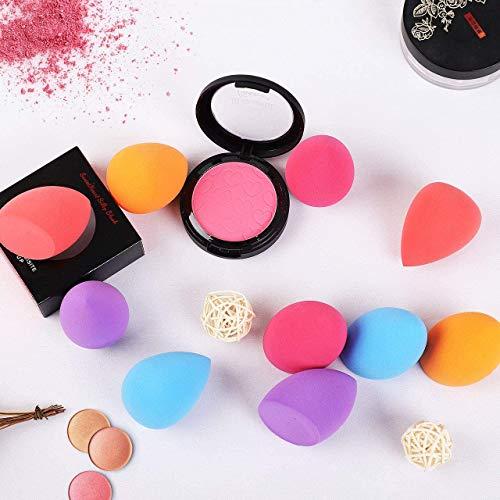 Esponja Maquillaje, 10 Piezas Esponjas para Maquillaje Facial de Belleza, Componga la Esponja para Maquillaje para Base de Maquillaje Impecable, Base de Mezcla y Resaltador
