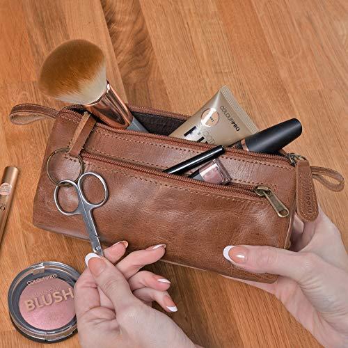 Moonster Estuche de Maquillaje Tipo Neceser de Piel para Uso Diario – Cabe en el Bolso – Bolsa de Maquillaje Elegante para Mujer – Organizador de Maquillaje para Viajes