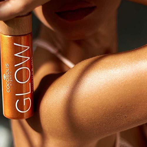 COCOSOLIS Glow Aceite Brillante - Hidratante Bio Oil - Brillo bronceador para rostro y cuerpo - Nuevo aroma de galletas (110 ml)