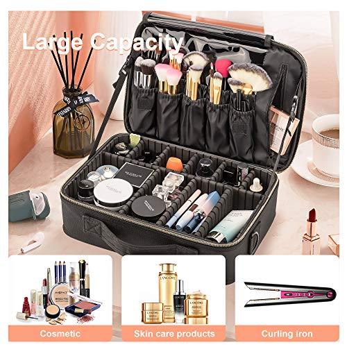 Amasava Profesional Grande Bolsa Maquillaje Cosmético Organizador Neceser Viaje Maquillaje Estuche Viaje con Brochas Compartimentos 37x27x11cm Negro
