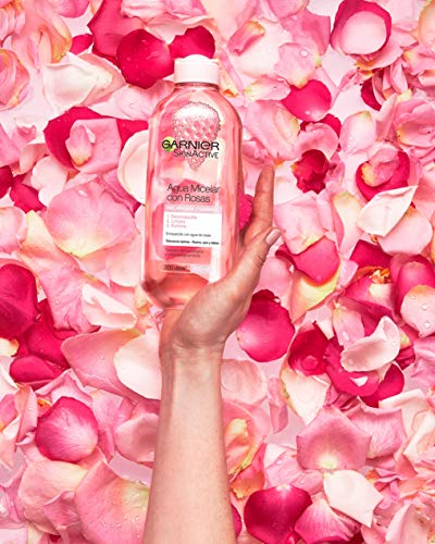 GARNIER Skin Active Agua Micelar con Agua de Rosas para Piel Apagada y Sensible, Desmaquilla, Limpia e Ilumina en un solo gesto, Apto para Rostro, Labios y Ojos, 400Mililitros