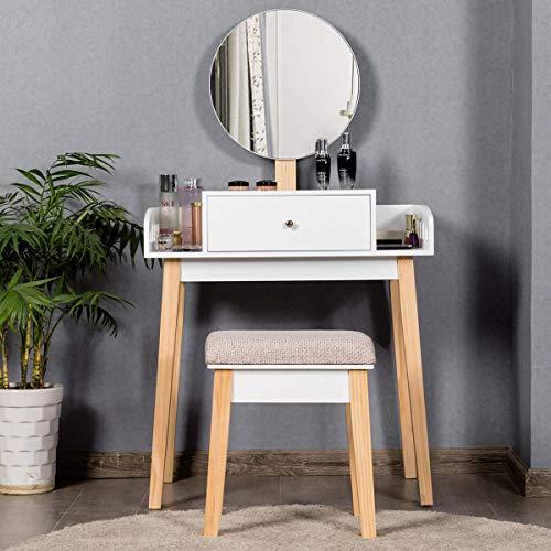 COSTWAY Tocador Mesa para Maquillaje con Espejo Redondo,Taburete y Cajón Tocador Blanco de Madera para Hogar Dormitorio