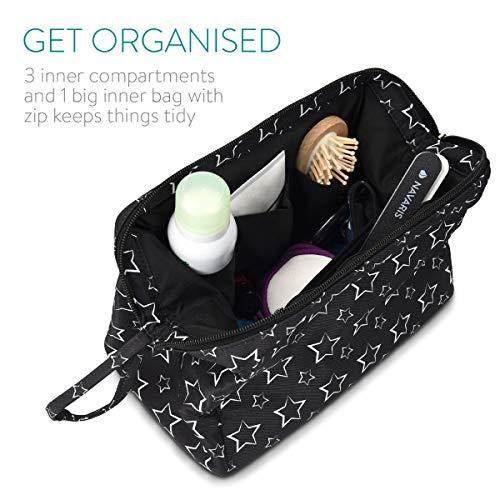 Navaris Bolsa de maquillaje con 3 compartimentos - Estuche de viaje para cosméticos y accesorios - Organizador de artículos de belleza - En negro