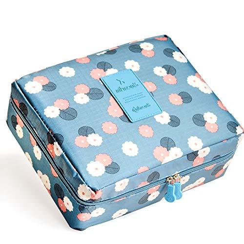 Romote 1pc Impermeable Maquillaje Bolsa de Aseo cosméticos Bolsa de Viaje de Lavado Organizador de Viajes Bolsa de Aseo para Mujeres señoras Madre niñas (Flor Azul)