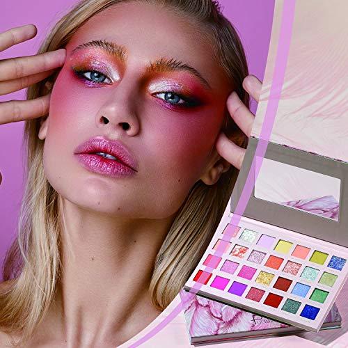 Paleta de sombras de ojos brillantes de 28 colores, (245g) 11 mate 11 brillantes 6 con purpurina, altamente pigmentada, de larga duración colorida paleta de maquillaje de sombras de ojos por Samnyte