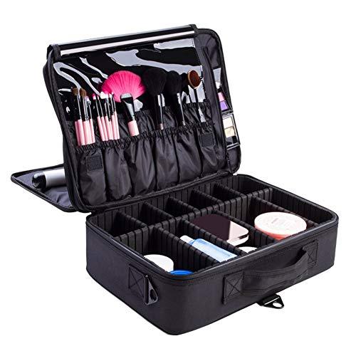 Feibrand Profesional Bolsa de Maquillaje Cosmético Organizador Neceser Viaje Bolso Cosmetico Case Maleta Mujer Negro 40x28x14