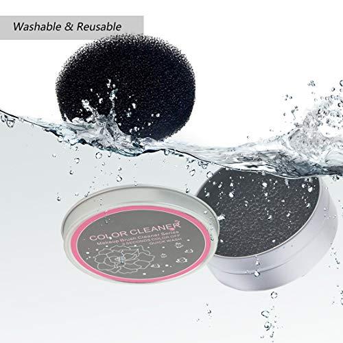 HONGECB Brocha para Maquillaje Esponja Limpiador, Esponja Caja de Limpieza de Pinceles de Maquillaje para Quitar Residuos de Polvos Cosméticos sin Agua, 3 Esponjas Secas Con Uno Limpiar Caja