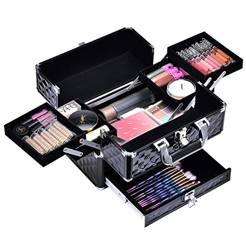 Maletín Maquillaje Profesional Negro Estuche de Maquillaje Neceser Maquillaje Cosméticos Maletín Manicura Maquillaje Caja Joyero Organizador de Viaje con Cajón y Cerradura Regalos para Mujeres