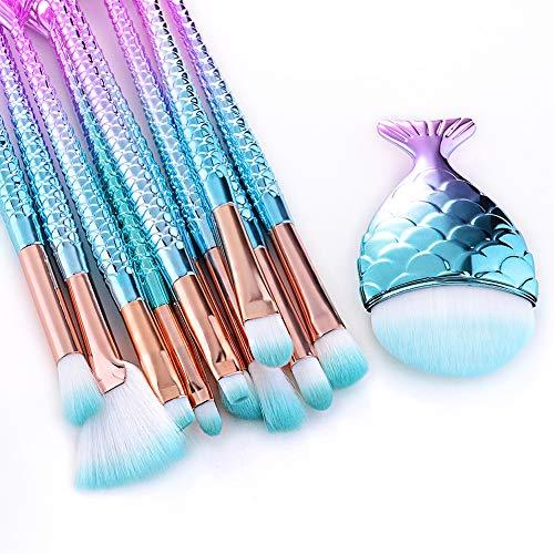 The Original Mermaid - Juego de brochas de maquillaje, diseño 2019, 11 piezas, bolsa de viaje incluida