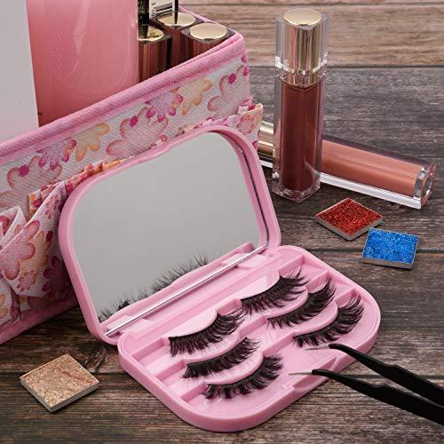 Allwon Caja de pestañas postizas Caja de pestañas vacías de tres niveles con espejo de maquillaje Caja de almacenamiento de viaje de embalaje de pestañas (rosa)