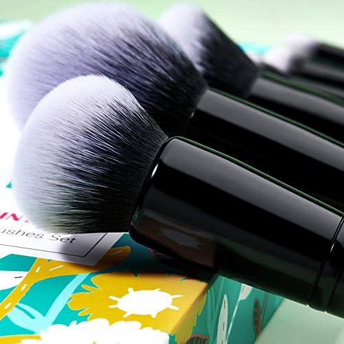 Jessup Pinceles de maquillaje Set de brochas para el rostro con base en polvo Kits cosméticos de cabello sintético 10 piezas (T278)