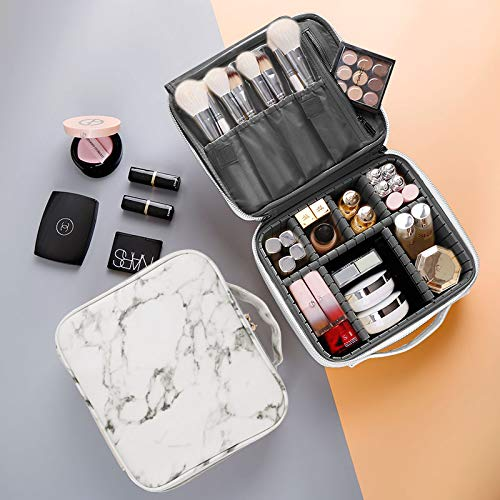Neceseres de Maquillaje Caja de Maquillaje de Viaje, Bolsa de Maquillaje Portátil, Profesional Organizador de Maquillaje con Divisores Ajustables para Cosméticos, Pinceles de Maquillaje, Joyas