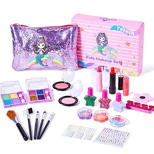Yetech Juego de Maquillaje Lavable para niños, 23 Piezas, Kit de cosméticos Reales de Seguridad Probada para niños con Bolsa de Sirena, Juguete de Regalo de cumpleaños y Navidad para niñas de 4-8