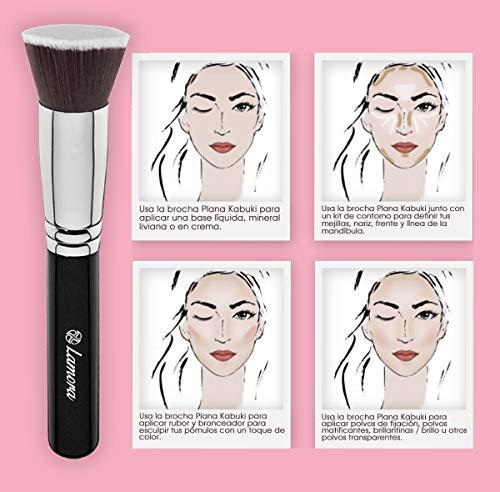Brochas De Maquillaje Kabuki Profesional - Pincel Facial Ideal Para La Aplicación De Bases De Maquillaje Liquido Tradicionales y Fluidas - Perfecto También Para Aplicar y Difuminar Bases de Maquillaje en Polvos Suelto y Compacto - Calidad Premium - Fibras Sintéticas Gruesas - Color Negro
